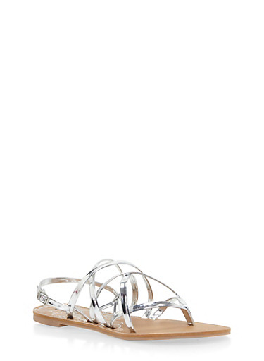 Strappy Thong Sandals,SILVER,large
