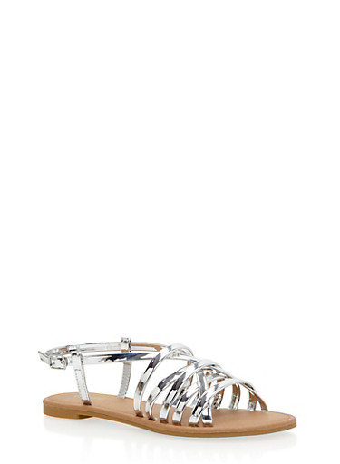 Strappy Faux Leather Sandals,SILVER,large