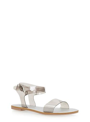 Transparent Ankle Wrap Sandals,GRAY,large