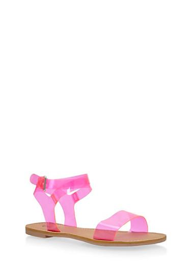 Transparent Ankle Wrap Sandals,FUCHSIA,large