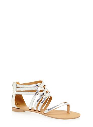 Metallic Thong Sandals,SILVER,large