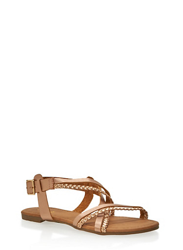 Cross Strap Sandals with Braided Details,ROSE GOLD,large