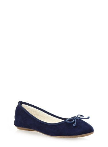 Round-Toe Ballet Flats With Faux Shearling Lining,NAVY,large