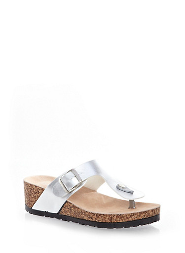 Wide T-Strap Cork Wedge Thong Sandal With Buckle,SILVER,large