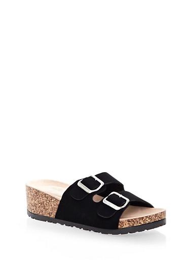 Two-Buckle Cork Wedge Sandal,BLACK,large