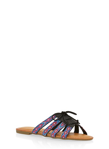 Lace Up Slide Sandals,BLACK,large