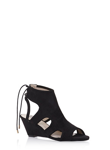 Wedge Sandals with Sculptural Cutouts,BLACK,large