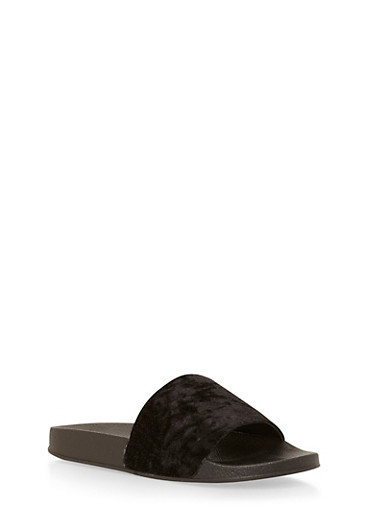 Crushed Velvet Slides,BLACK,large