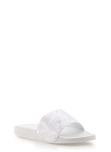 Crushed Velvet Slides,WHITE,large