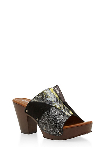 Patchwork Chunky Heeled Mule Slides,BLACK,large
