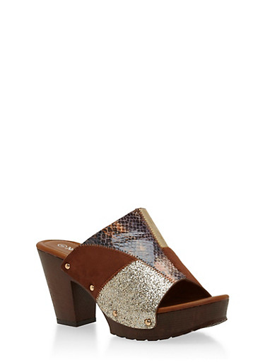 Patchwork Chunky Heeled Mule Slides,TAN,large