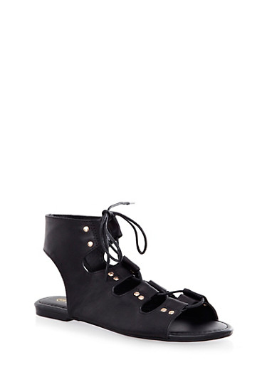 Studded Caged Faux Leather Lace-Up Ankle Gladiator Sandals,BLACK,large