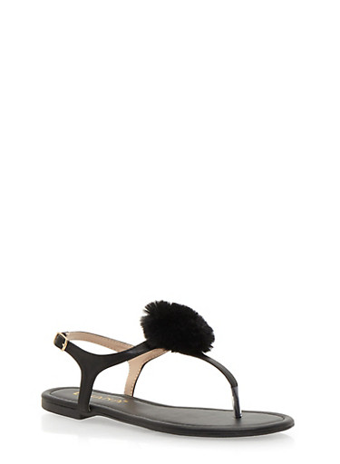 Thong Sandals with Pom Pom Accent,BLACK,large