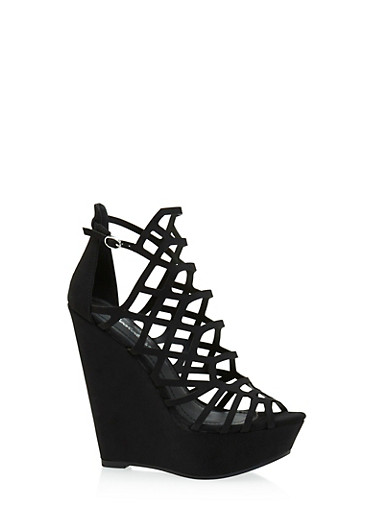 Caged Cut Out Wedges,BLACK,large