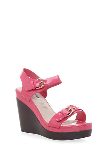 Ankle Strap Buckle Wedge Heels,FUCHSIA,large