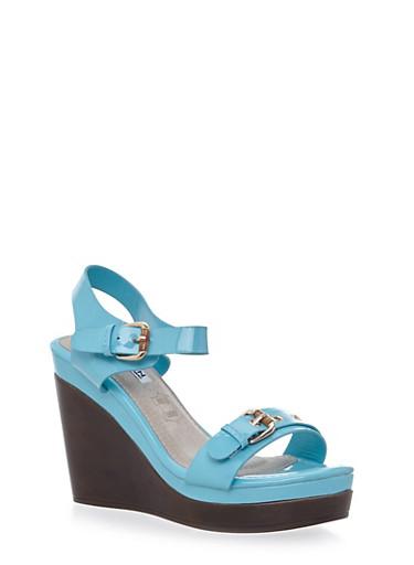 Double Buckle Platform Sandals,BLUE,large
