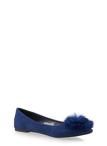 Pointed Flats with Pom Pom Detail,NAVY,large