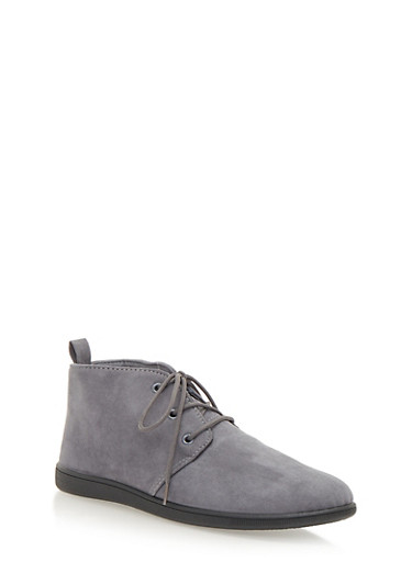 Flat Desert Boot in Brushed Suede,GRAY,large