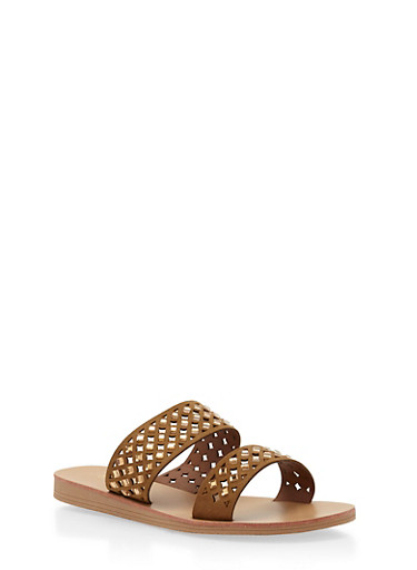 Rhinestone Studded Lasercut Slides,TAN,large