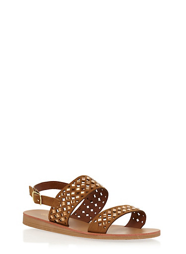 Rhinestone Cutout Double Strap Sandals,TAN,large