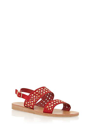 Rhinestone Cutout Double Strap Sandals,RED,large