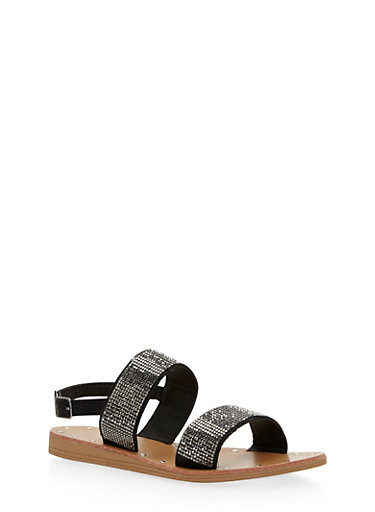 Double Strap Rhinestone Sandals,BLACK,large