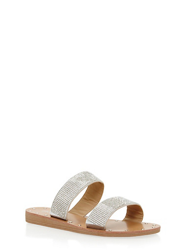 Rhinestone Double Strap Slide Sandals,SILVER,large