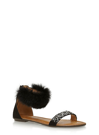 Faux Fur Ankle Strap Sandal with Rhinestone Accent,BLACK,large