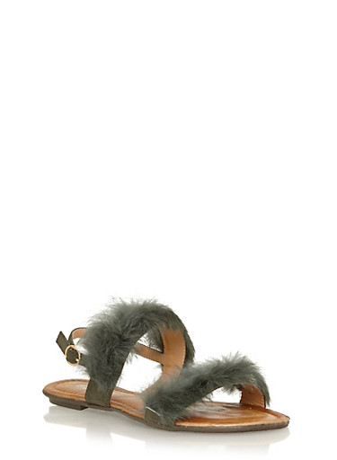 Faux Fur Strap Sandals,OLIVE,large