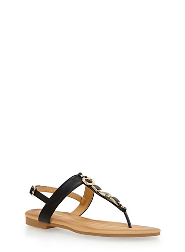 Metal Square Detail Thong Sandal,BLACK,large