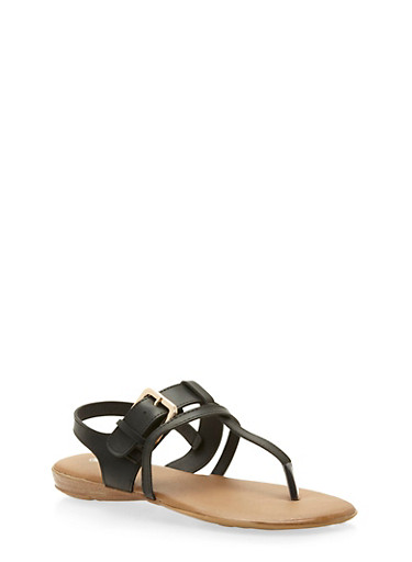 Faux Leather Strappy Buckle Thong Sandals,BLACK,large