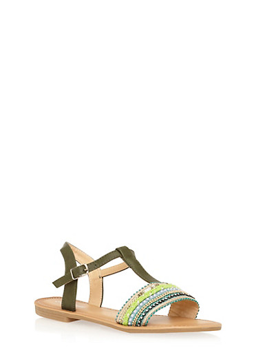 Embroidered T Strap Sandals,OLIVE,large