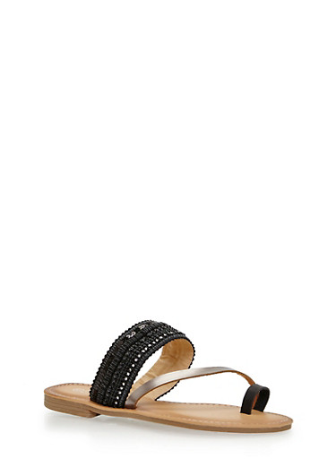 Sequined Beaded Toe Ring Slide Sandals,BLACK,large