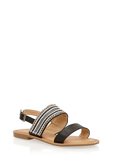 Faux Leather Beaded Sandals,BLACK,large