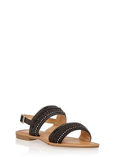 Embroidered Double Strap Sandals,BLACK,large