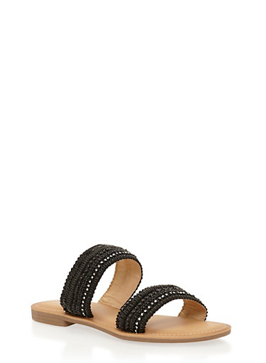 Beaded Double Strap Sandals,BLACK,large