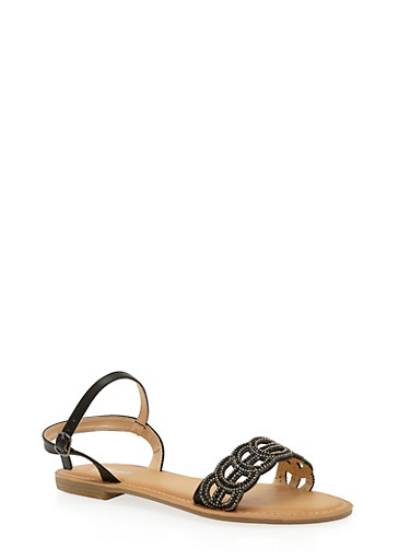 Beaded Lasercut Flat Sandals,BLACK,large