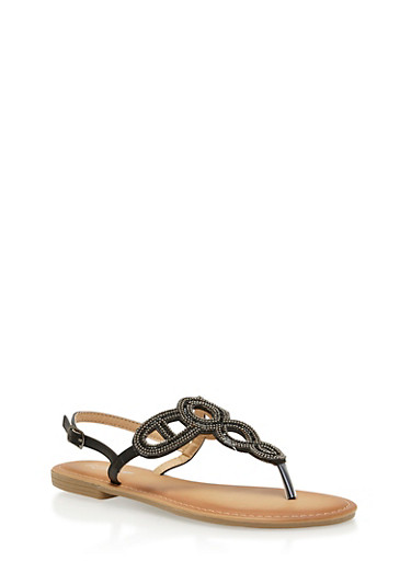 Beaded Loop Thong Sandals,BLACK,large