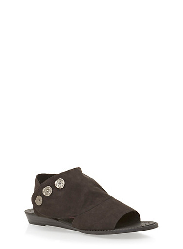 Cutout Flat Sandals with Three Buttons,BLACK F/S,large