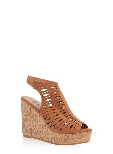 Perforated Cork Wedge Sandals,LIGHT BROWN F/S,large