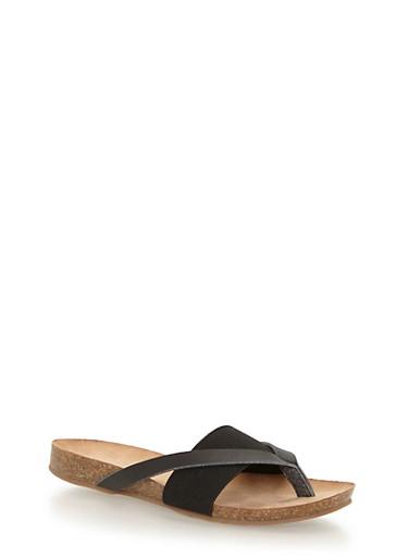 Cork Elastic Strap Thong Sandals,BLACK/BLACK,large
