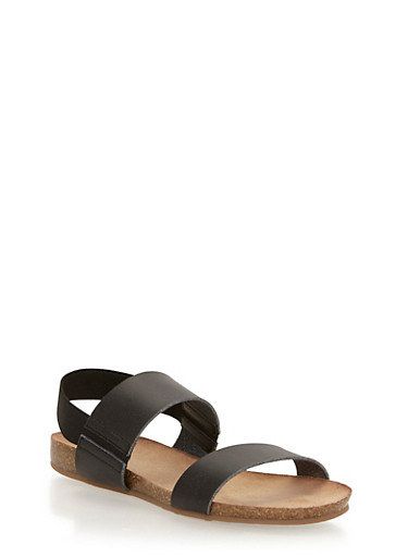 Cork Sandals with Elastic Back Strap,BLACK/BLACK,large