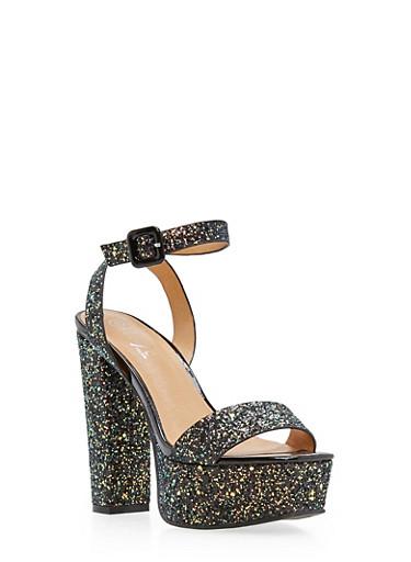 Ankle Strap Glitter High Heel Platform Sandals,BLACK GLITTER,large