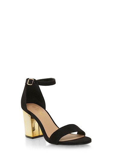 Faux Suede Sandals with Chunky Metallic Heels,BLACK,large