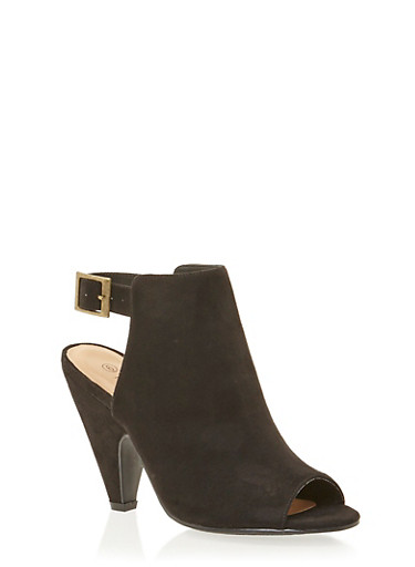 Cutout Ankle Boots with Tapered Heels,BLACK SUEDE,large