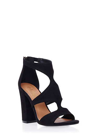 Open Toe Sandals with Chunky Heels,BLACK,large