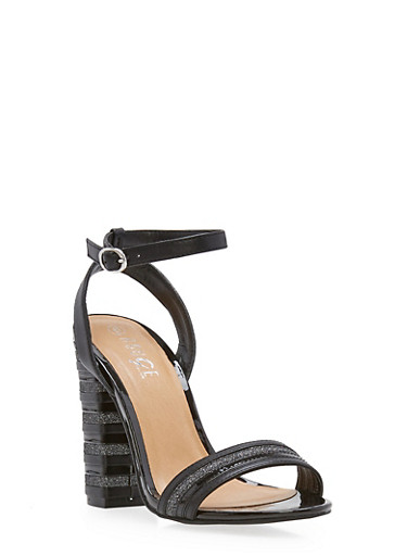 Ankle Strap Stacked High Heel Sandals,BLACK CRP,large