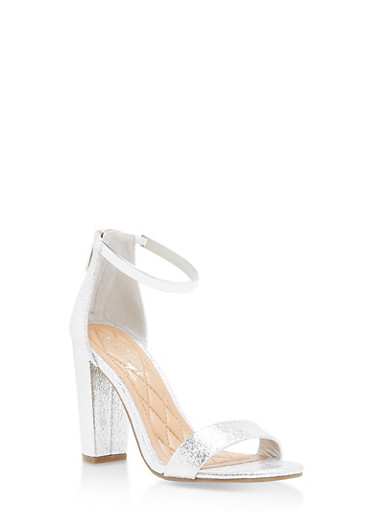 Ankle Strap Block High Heel Sandals,SILVER CMF,large