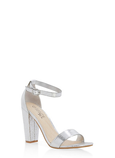 Metallic Textured Ankle Strap High Heels,SILVER CMF,large