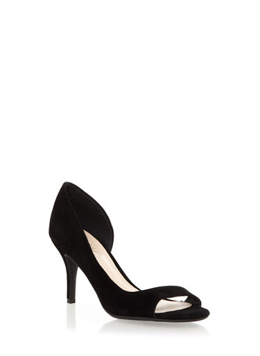 Open Toe Heels,BLACK,large